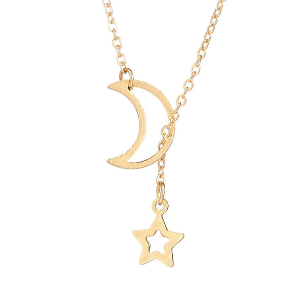 Moon Star Style Necklaces Gold Silver Long Chain Link Jewelry Gift for Women