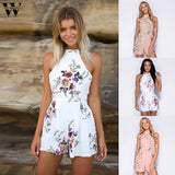 Womail bodysuit Women Summer Fashion Print High Neck Floral Mini Playsuit Ladies Shorts Jumpsuit  overalls new 2019 dropship M5