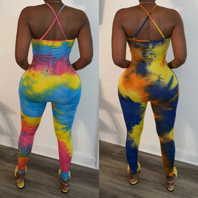 X Back Tye Dye Jumpsuit