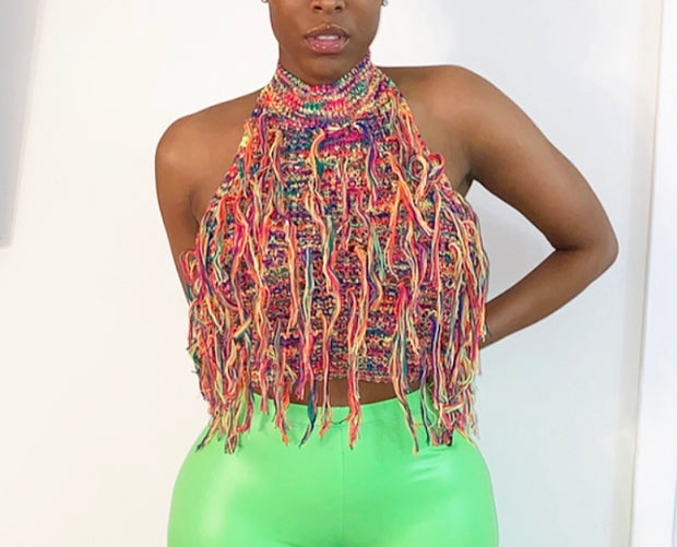 Shaggy Knit Fringed Halter Top