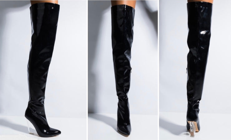 Clear Wedge Over The Knee Boots