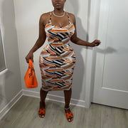 Printed On Midi Dress