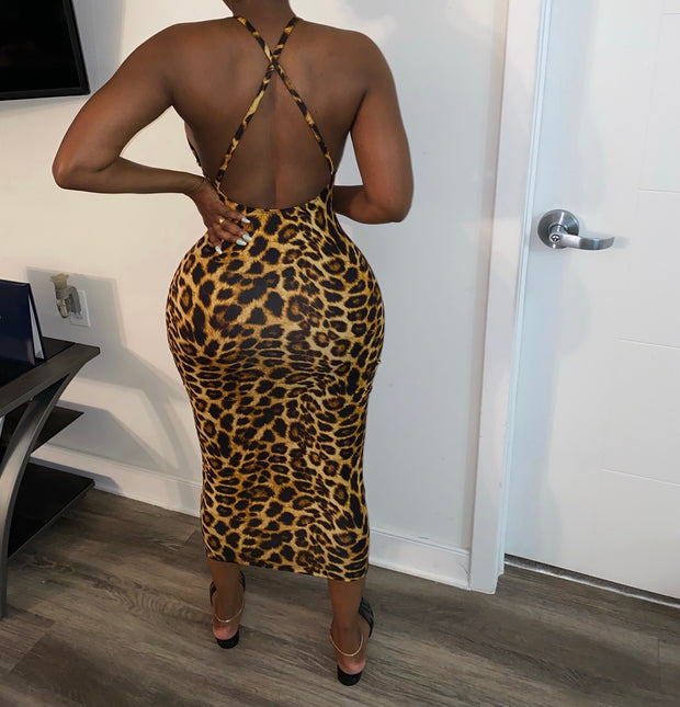 Leopard Cross Back Midi Dress (Ships 9/21)