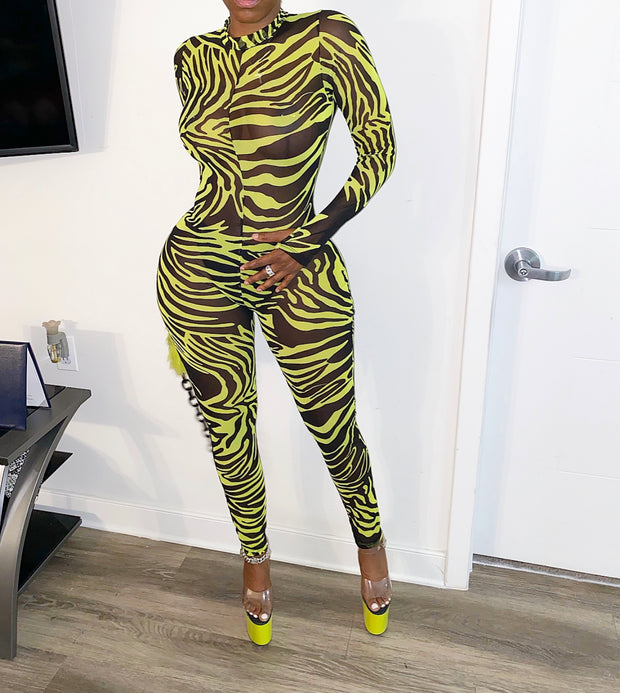 Sheer Neon Zebra Jumpsuit