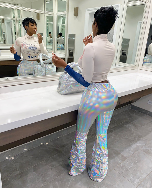 Hologram Ruched Latex Pants