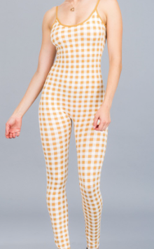 Gingham Body Con Jumpsuit