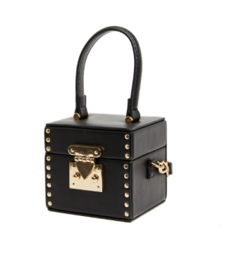 Studded Leatherette Box Bag