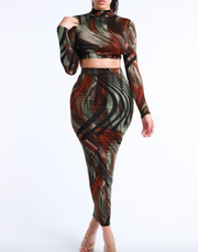 Abstracted Paint Skirt Set