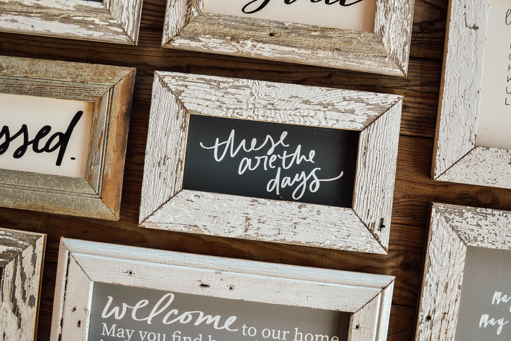 reclaimed wood framed signs