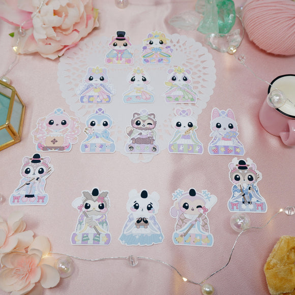 Stickers of ~ Pastel variants of ~ Girls Day / Hinamatsuri Mei Bee Art x Kittynaut Collab Series