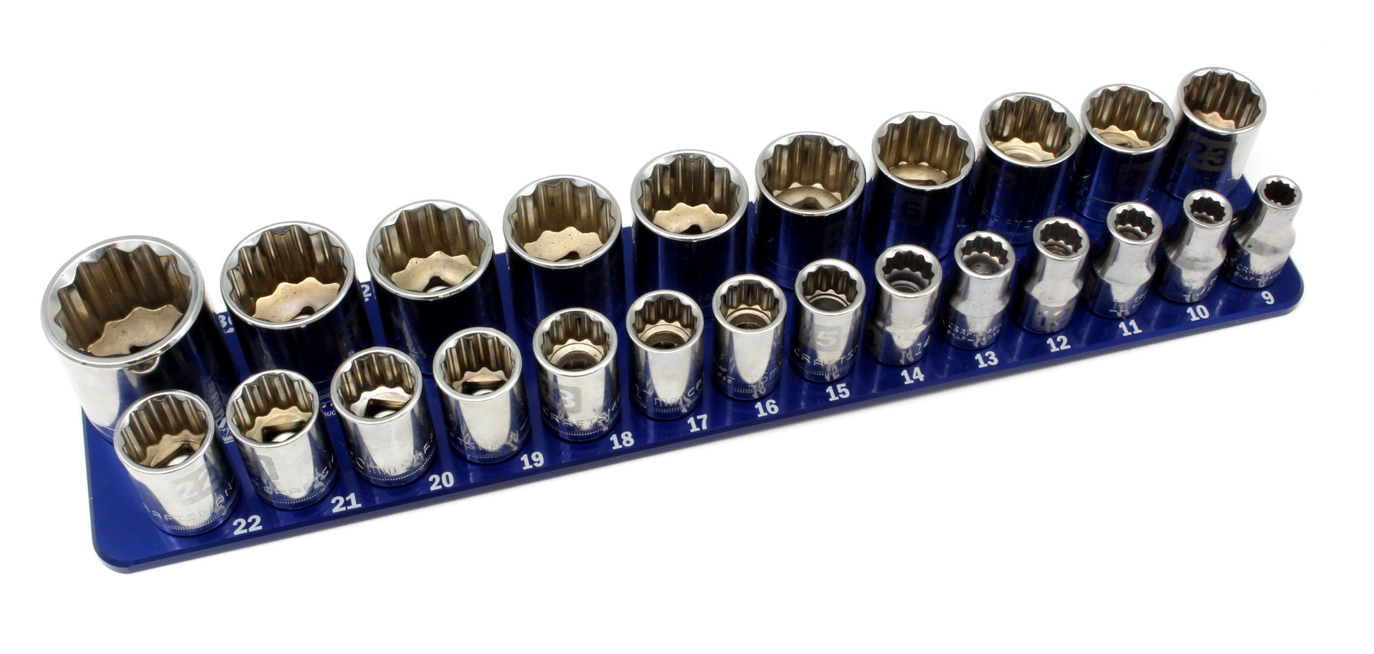 "1/2"" Metric - 24 Pin (9mm to 36mm)-Socket Trays-Westling Machine-Engraved-Blue-2 Row-Westling Machine"