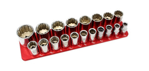 "1/2"" Standard - 19 Pin (3/8"" to 1-1/2"")-Socket Trays-Westling Machine-Engraved-Red-2 Row-Westling Machine"