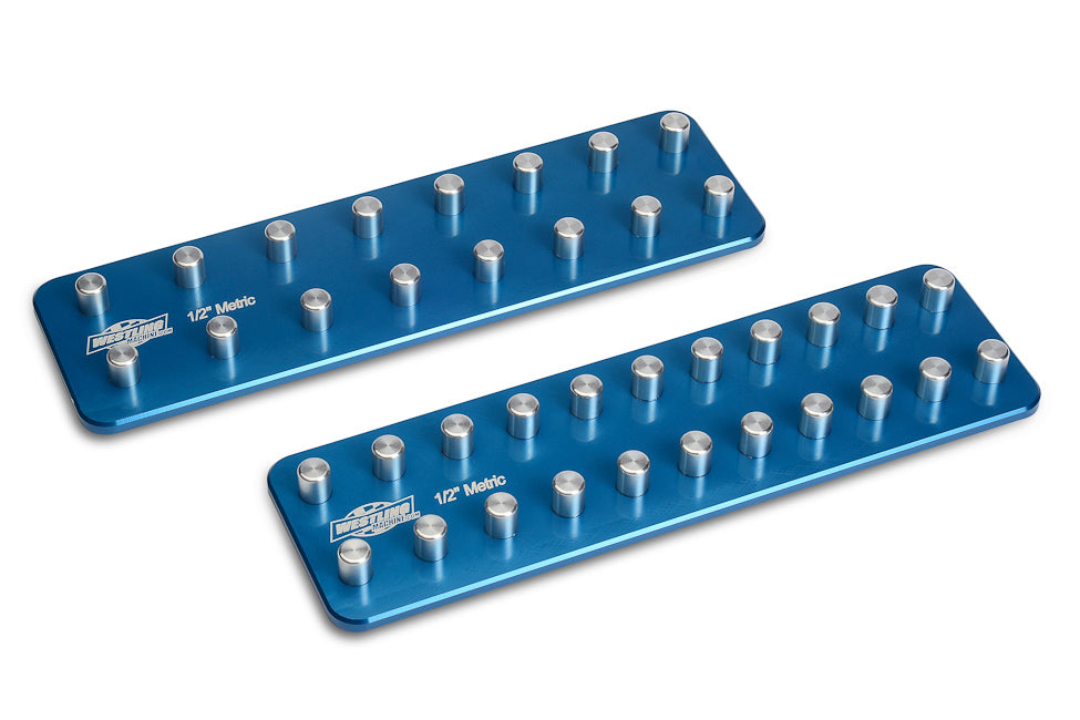 "1/2"" Metric Tool Holder Set-Socket Trays-Westling Machine-Engraved-Blue-2 Row-Westling Machine"