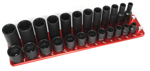 "3/8"" Standard Tool Holder-Socket Trays-26 Pin 1/4"" to 1""-Engraved-Red-2 Row-Westling Machine"