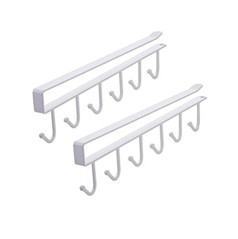 AUCH 2Pcs Multi-function Nail Free Under-the-closet Single Row Cup Coffee Mug Hooks Clapboard Interlayer Storage Rack Shelf Chest Tie Scarf Hanger Rack, White