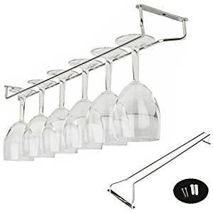 "Under Cabinet Wine Glass Rack, gloednApple Stainless Steel Wine Rack Glass Holder Hanging Hanger Chrome Stemware Holder for Bar Kitchen (35cm/13"")"