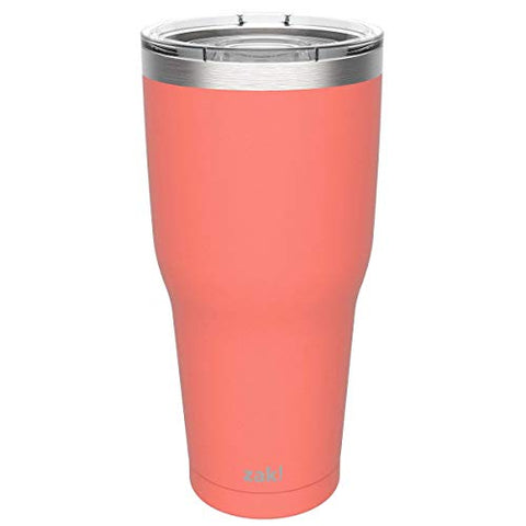 Zak Designs Double Wall Stainless Steel Vacuum Insulated Tumbler with Slide Lid and Splash-Proof Design Metal Water Bottle is Perfect for Outdoor Activity (30oz, Peach, 18/8, BPA-Free)