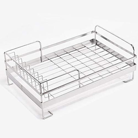 ?Expandable Dish Draining Rack - Stainless Steel Dish Drainer with Drip Tray & Cutlery Compartment Basket Functional Kitchen Organizer for Drying Vegetable and Fruit and Silverware? ?(39.5×26×14cm)