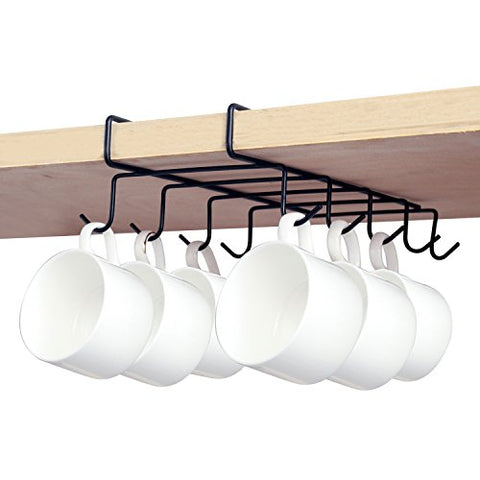 MyGift Under Shelf 10 Hook Coffee Cup Holder, Metal Teacup Storage Drying Rack, Black