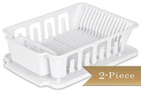 TrueCraftware White Large Sink Dish Rack and Drainer Board