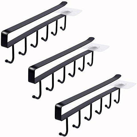 6-Hook Under Cabinet Mug Hanger (3pcs, Black)