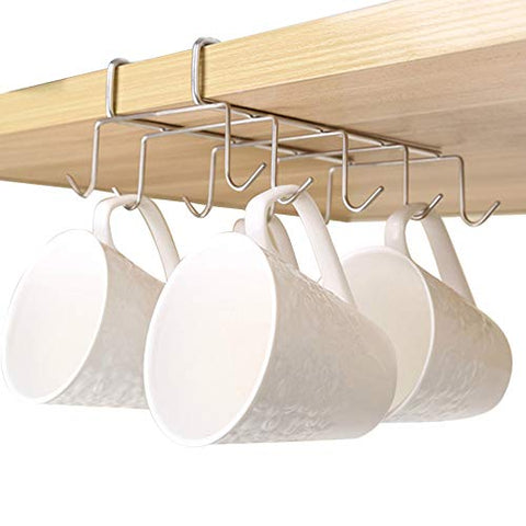 Misszone Mug Holder Under Shelf with 10 Hooks Chrome Silver Coffee Cups Wine Glasses Storage Drying Rack Under Cabinet Without Drilling for Kitchen Organizer for Ties and Belts