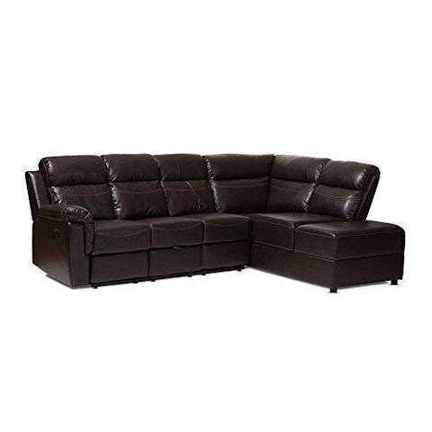 Baxton Studio Fabienne Dark Brown Faux Leather 2 Piece Sectional with Recliner & Storage Chaise, Brown