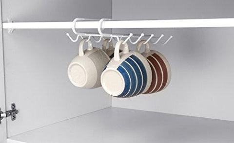 Home Basics 10 Hook Under Shelf Mugs Cup Storage Drying Holder Rack, and closet or Cabinet Hanging Organizer Rack for Ties and Belts, White