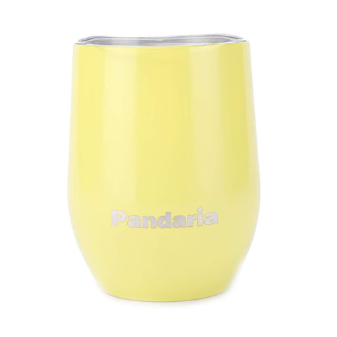 Pandaria 12 oz Stainless Steel Stemless Wine Glass Tumbler with Lid, Double Wall Vacuum Insulated Travel Tumbler Cup for Wine, Coffee, Drinks, Champagne, Cocktails, Yellow