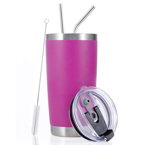 Toopify 20oz Stainless Steel Insulated Fuchsia Tumbler Travel Mug with Straw Slider Lid, Cleaning Brush, Double Wall Vacuum
