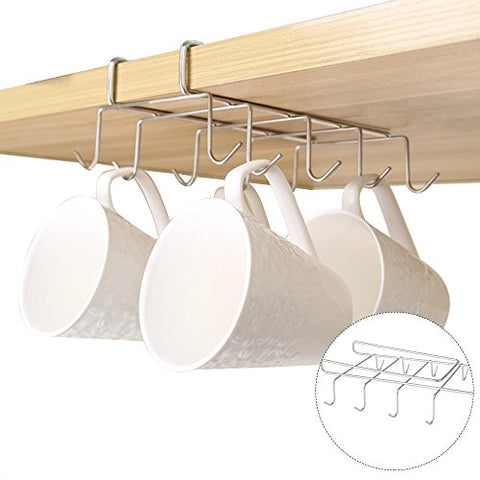Lovelynee 10 Hooks Mugs Holder Under Shelf Cups Storage Organizer Under Cabinet Drying Holder Collection Display Rack Hanging for Wine Glasses Ties Belts Kitchen