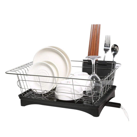 "Dish Drainer Stainless Steel Drying Rack with 3-Piece Set and Removable Utensil Holder Small Dish Rack for kitchen Counter- 16.7"" x 11"" x 6"""