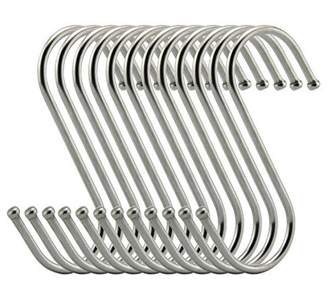 RuiLing Premium S Hooks - S Shaped hook - Heavy Duty Stainless Steel Hanger Hooks - Ideal for hanging pots and pans, plants, utensils, towels etc. Size Medium Set of 20
