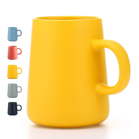 JYYT Frosted Ceramic Cup Coffee Cup Mug Tea Cup for Office and Home Perfect Gift,Maximum Capacity 13.5oz (yellow)