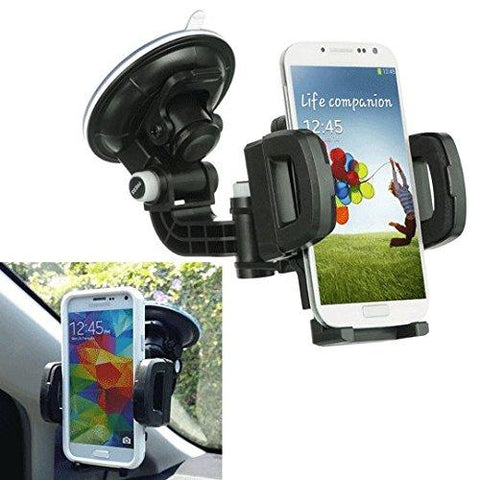 Super Rugged Car Mount Windshield Holder + clip vent mount hook onto the AC #4 for APPLE IPHONE 6 PLUS 5.5 '' / 4.7 '' Display with Protective Cover / Silicone Case (By All_Instore)
