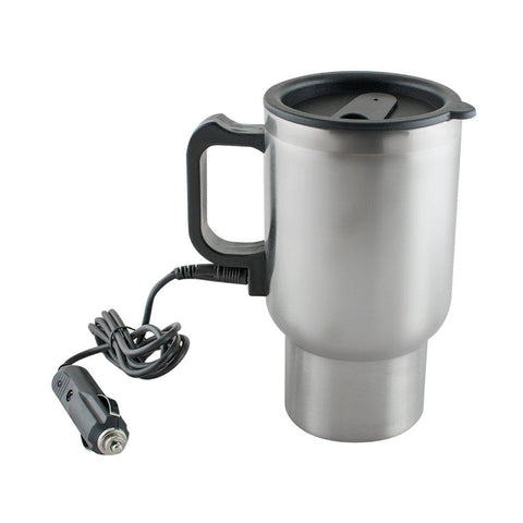 Enshey 12V Stainless Steel Heated Travel Mug Cup for Car Heated Thermos Coffee Tea Espresso Appliance with Charger