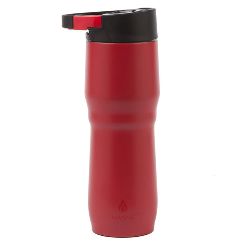 Manna DASH Clip&Carry Mug 15 oz Double-Walled Vacuum Insulated Stainless Steel Bottle with Carabiner | Leak Proof Lid | BPA & Lead-Free | Keeps Liquid Cold for 12 Hours & Hot for 8 hours - Red