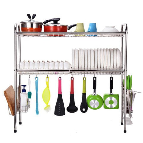 2-Tier SUS304 Stainless Steel Adjustable Dish Drying Rack Utensil Holder,Over the Sink Kitchen Storage Shelf (Double Groove) …