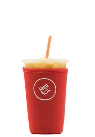 Java Sok Reusable Iced Coffee Sleeve – Cup Insulator Sleeve for Cold Beverages and Neoprene Cup Holder | Ideal for Starbucks Coffee, McDonalds, Dunkin Donuts, More (22-24 oz Medium, Red)