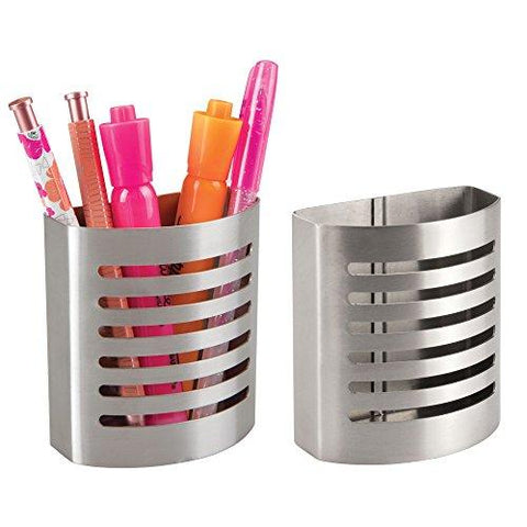 iDesign Forma Magnetic Modern Pen and Pencil Holder, Metal Writing Utensil Storage Organizer for Kitchen, Locker, Home, or Office, Set of 2, Stainless Steel