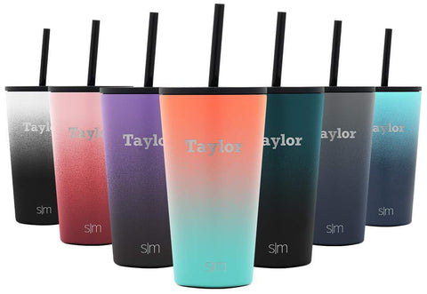 Simple Modern Personalized 16oz Classic Tumbler - Gifts for Men & Women Custom Laser Engraved Name - Vacuum Insulated Travel Mug Cup Ombre: Havana