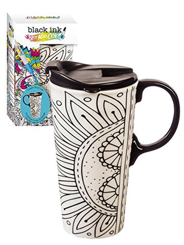 Cypress Home Burst of Color Coloring Book Ceramic Travel Coffee Mug, 17 ounces
