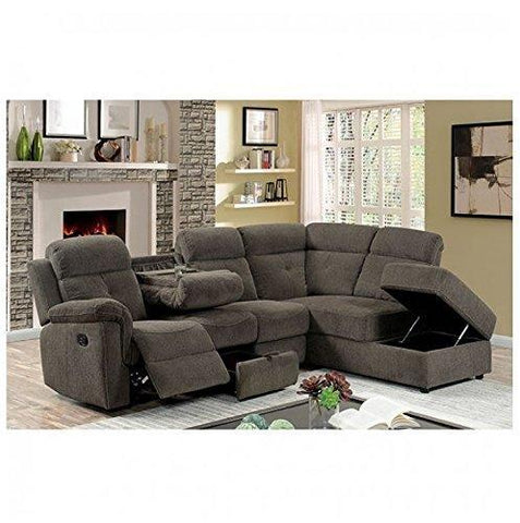 AVIA Sectional Reclining Sofa w Drop Down Console Storage Chaise Padded Arms Grey Linen Fabric Living Room Furniture