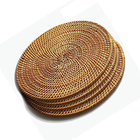 Favson Rattan Trivets for Hot Dishes-Insulated Hot Pads,Durable Pot holder for Table,Coasters, Pots, Pans & Teapots,Natural Wooden Heat Resistant Mats for Kitchen,Set of 4,Round 7.08""