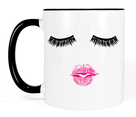 Most Toasty Lashes and Pink Lipstick Ceramic Coffee Mug Makeup Gift for Her, 11 Ounce, Black and White