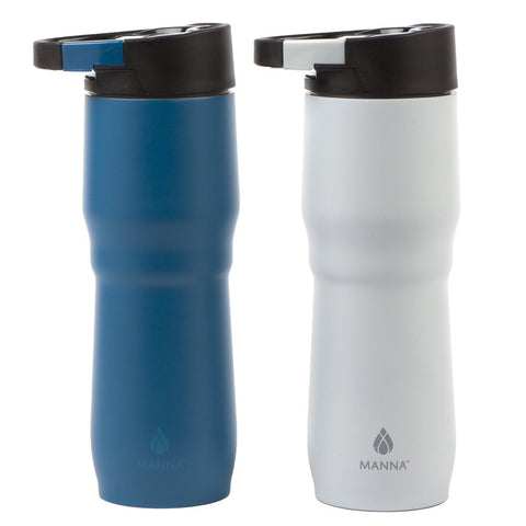 Manna DASH Clip&Carry Mug 15 oz Double-Walled Vacuum Insulated Stainless Steel Water Bottle with Carabiner | Leak Proof Lid | BPA Free | Keeps Liquid Cold for 12 Hours & Hot for 8 hours - White/Blue