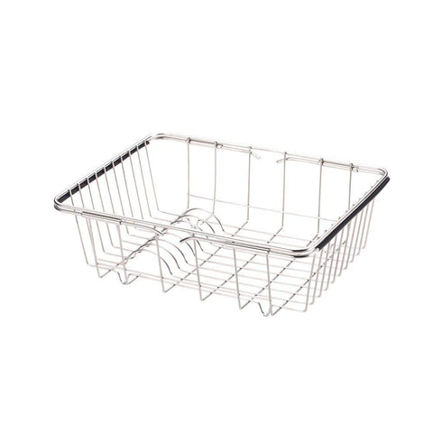 DreamInn Over Sink Dish Rack Stainless Steel Kitchen Drying Basket Rustproof Dish Drainer Rack with Expandable Handles for Drying Vegetables Bowls Dishes and Fruit