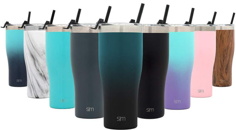 Simple Modern 32oz Slim Cruiser Tumbler with Straw & Closing Lid Travel Mug - Gift Double Wall Vacuum Insulated - 18/8 Stainless Steel Water Bottle Ombre: Moonlight