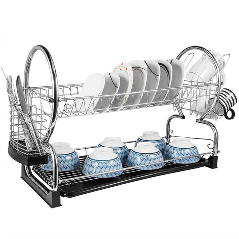 "2-Tier Dish Rack and DrainBoard 22"" x15 x10"" Kitchen Chrome Cup Dish Drying Rack Tray Cultery Dish Drainer"
