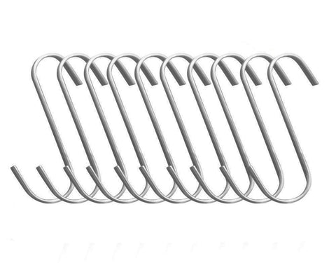 BBQ funland (10-pack) Premium Brushed Stainless Steel Metal Flat S Shaped Hooks, Gardening Tools for Plants, Silver Hanging Hooks Installation Hardware Designed for Any Kitchen